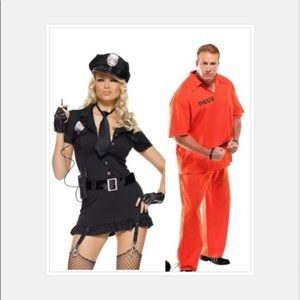 Halloween couples costume cop and inmate